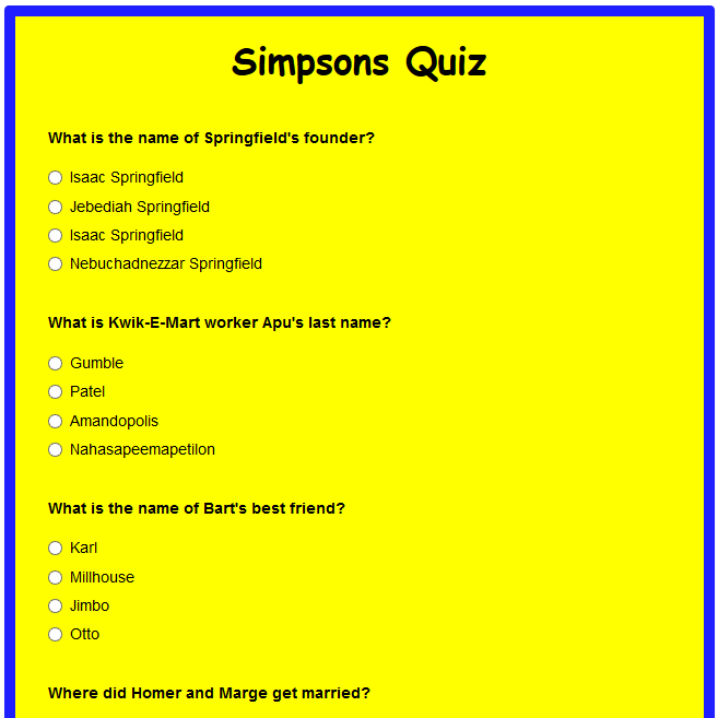 Simpsons Quiz