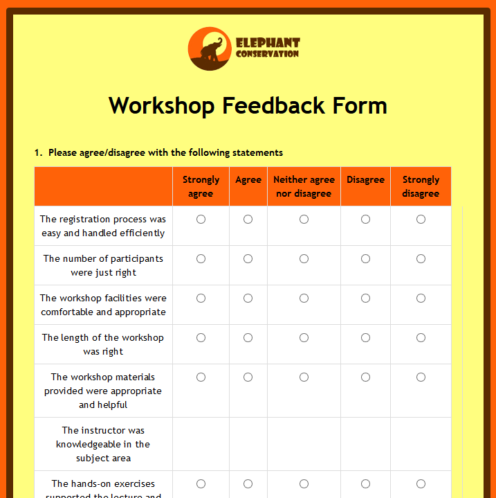 Formwize  Format For Feedback Form