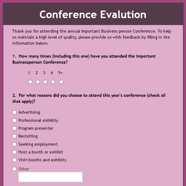 Conference Evaluation 2