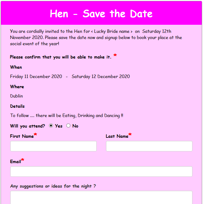 Hen Party - Save the date