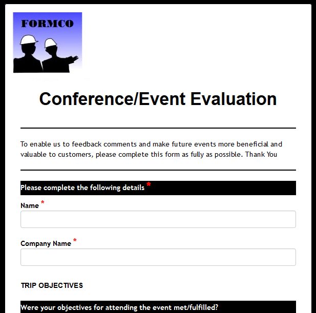 conference evaluation forms templates formwize examples