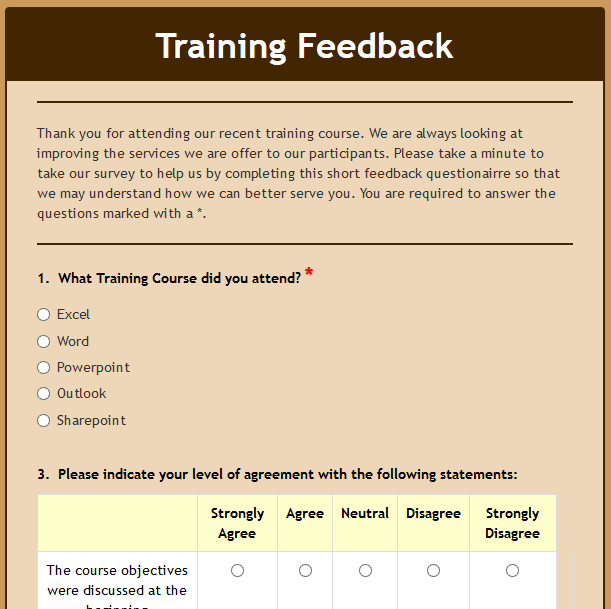 Formwize Examples – Sample Training Survey