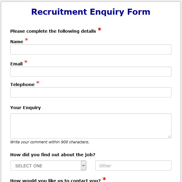 formwize examplesEnquiry Form Template #17