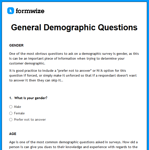 demographic questions for surveys formwize exles 2821