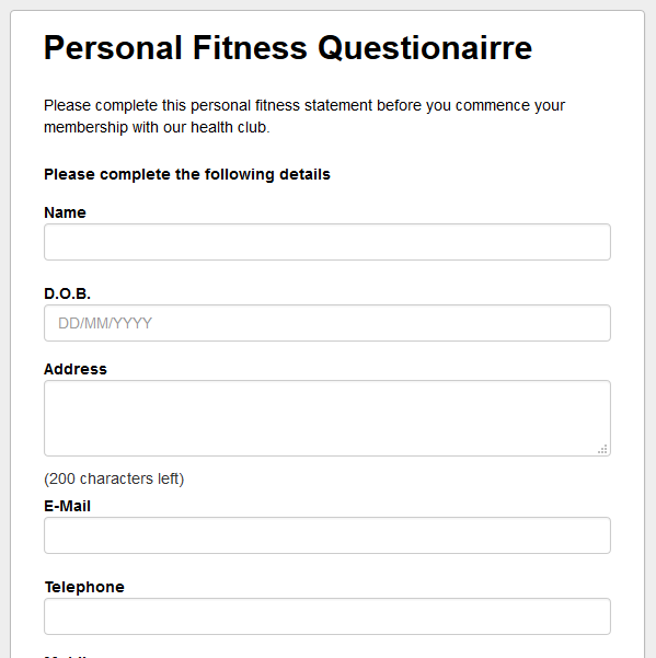 Personal Fitness Questionairre