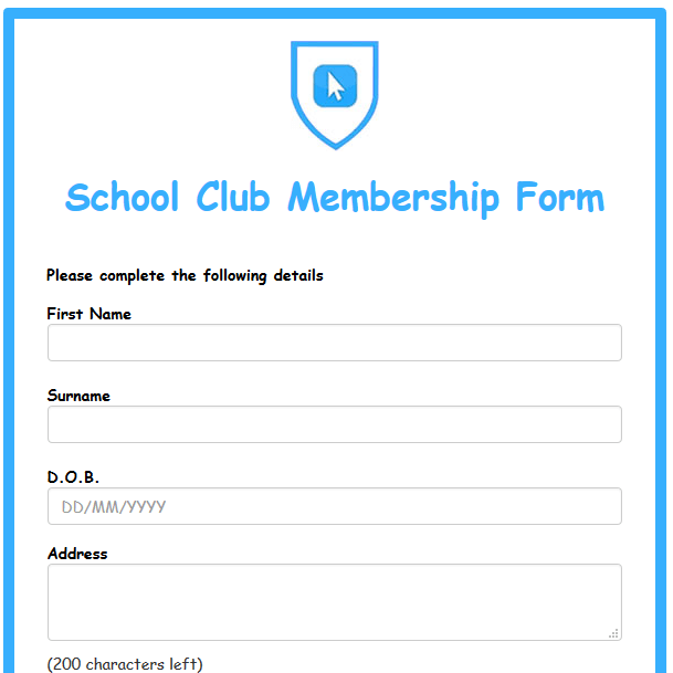 School Club Membership Form