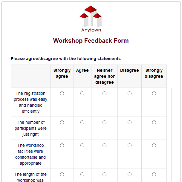 Formwize Examples – Sample Workshop Evaluation Form Example