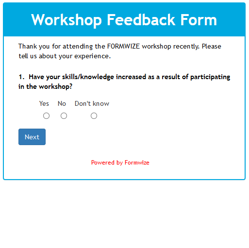 Formwize Examples – Meeting Feedback Form Template