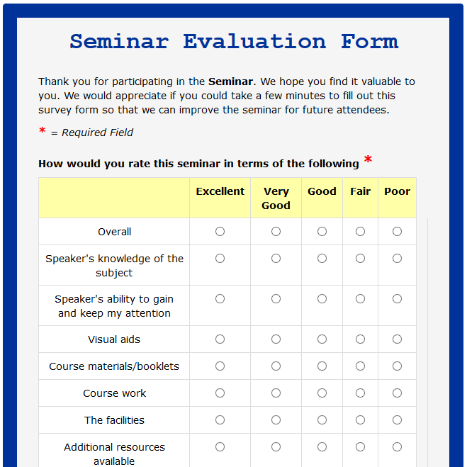 Formwize examples for End of course evaluation template