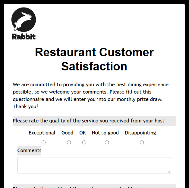 restaurant customer satisfaction survey template - formwize examples