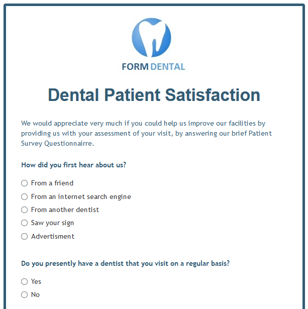 dental clinic questionnaire The nyu college of dentistry  all of the latest dental treatments and techniques are available, many of which were pioneered at our institution.